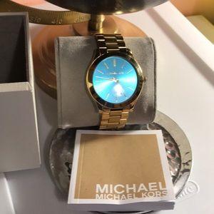 Michael Kors Gold Tone Blue Face Watch